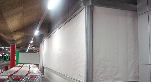Противопожарные шторы, паркинг ТЦ