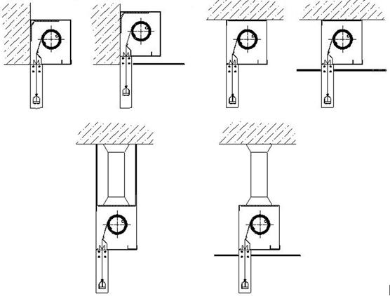 Варианты монтажа Противопожарных штор при орошении FireTechnics EI 60/EI 120/EI 180