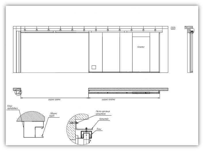 Схема одностворчатых ворот с калиткой и люком EI60