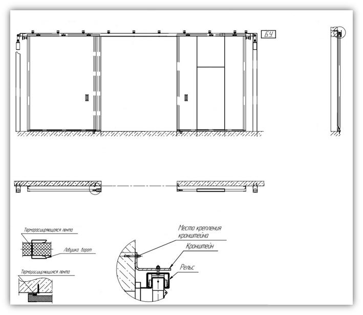 Схема раздвижных ворот с калиткой EI60