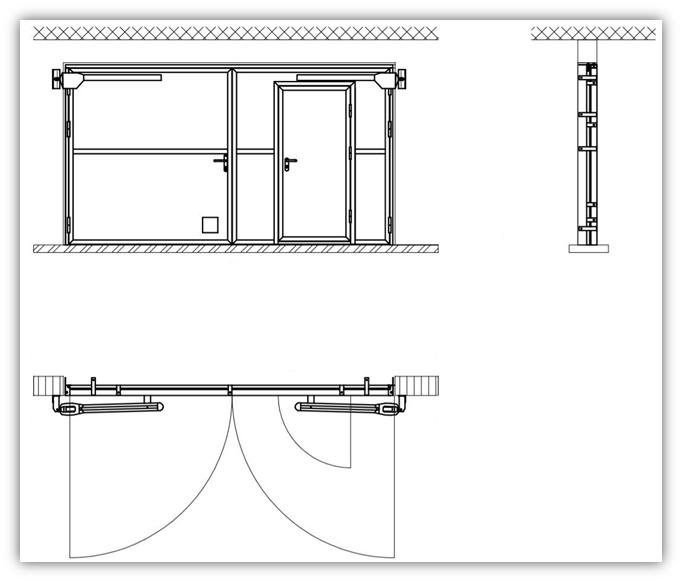 Схема ворот с калиткой и люком EI60