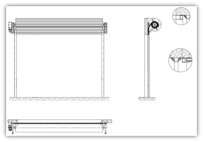 Схема рулонных противопожарных ворот с осевым приводом