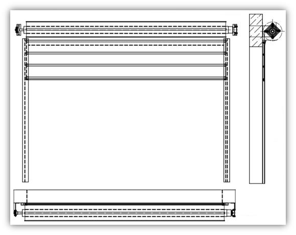 Схема ворот с внутривальным приводом, стандартный вариант
