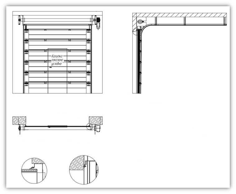 Схема ворот с калиткой и люком EI60 стандартный монтаж